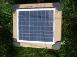 Clever little solar panel that charges the electric fence housing the orchard pigs.